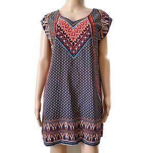 BeBop Long Shirt Dress Tunic Side Slit Printed M